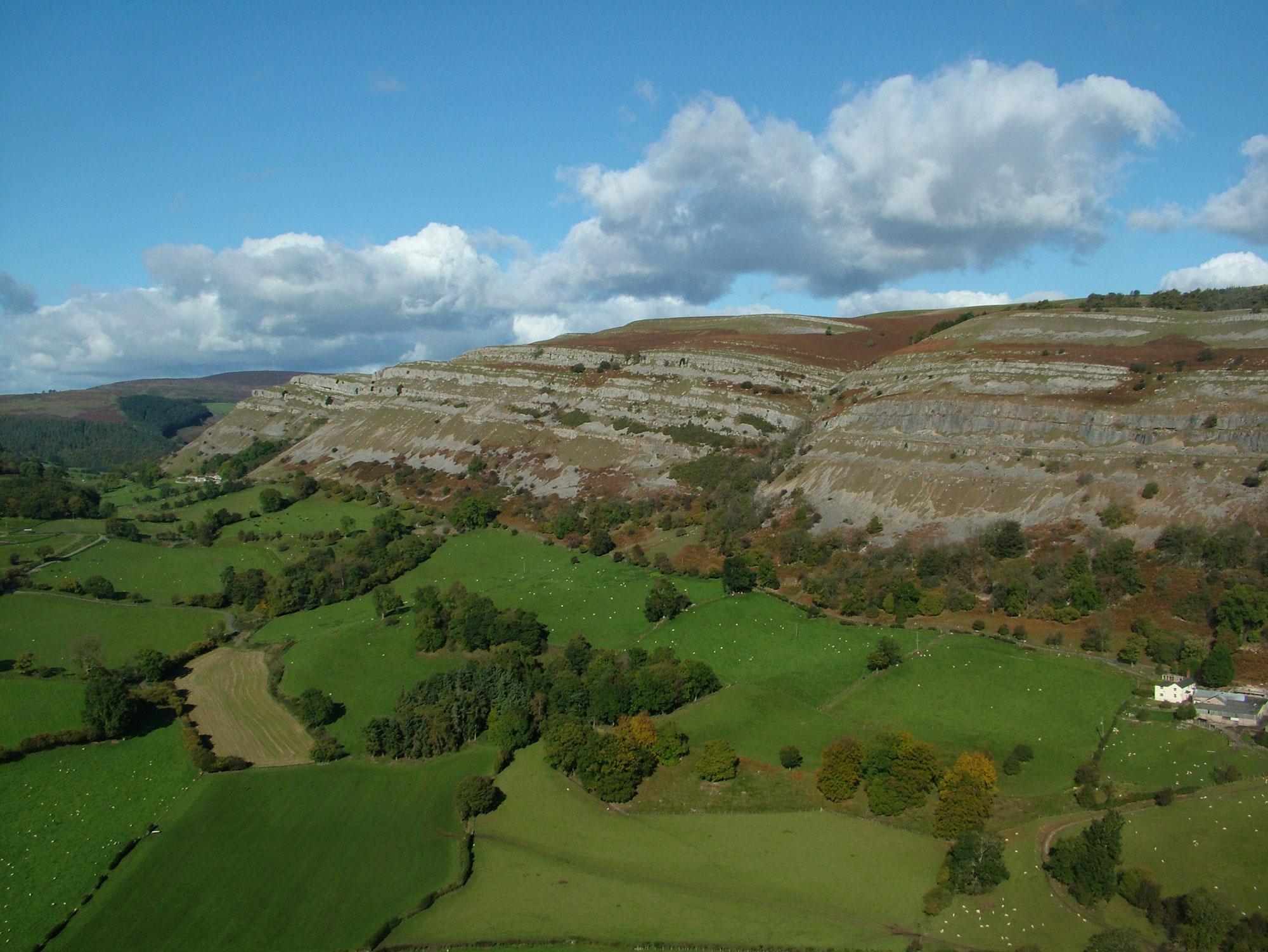 *Eglwyseg Escarpment from Moel Morfydd